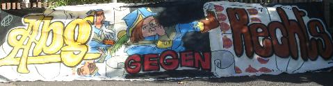 Transpi in Altenburg (beachte die Spielkarten)